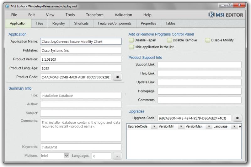 Click to view MSI Editor 3.1.0 screenshot