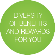 Diversity of benefits and rewards for you