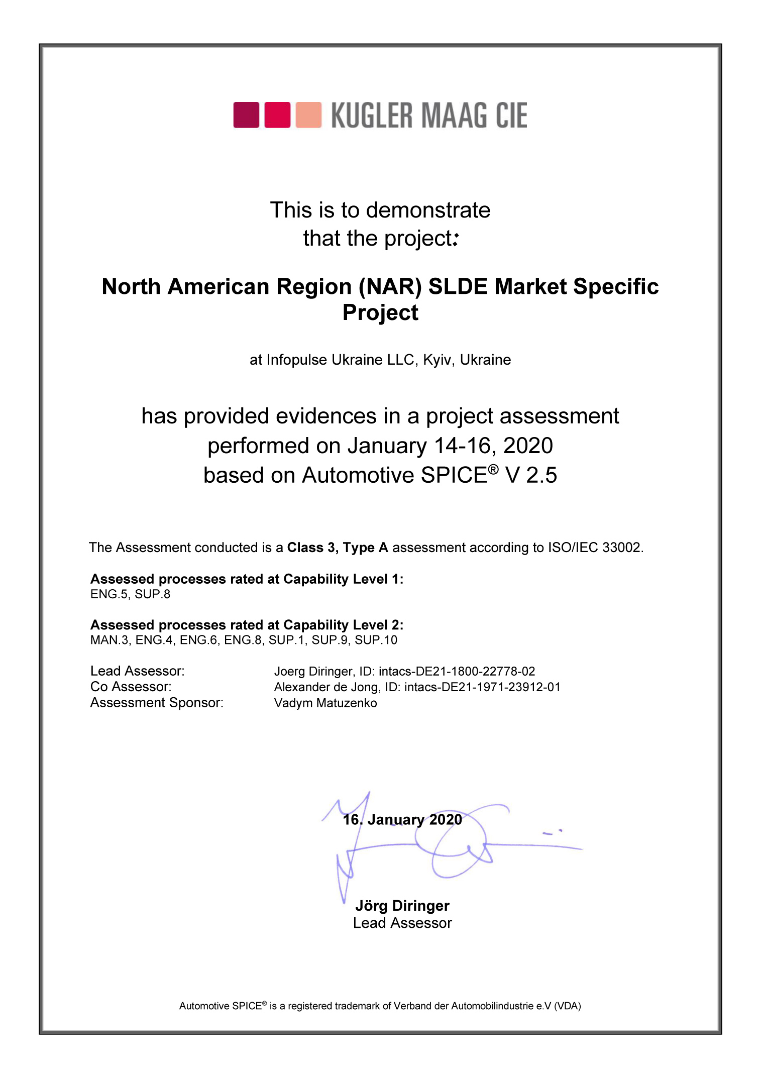 Infopulse Automotive Project is Officially ASPICE v2.5 Certified - 1 - Infopulse